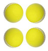 Tima Cricket Ball Genuine Quality Poly PVC Coated Hard Cricket Ball (Yellow) (Pack of 4)