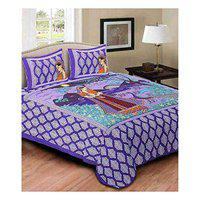 Keyline 300 TC 100% Pure Cotton Jaipuri Printed Double Bedsheet with 2 Pillow Covers - Size (90 in x 100 in),Violette