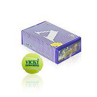 Vicky Heavy Cricket Tennis Ball (Pack of 6, Yellow)