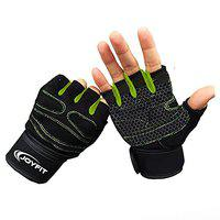 JoyFit Weight Lifting Gloves with 12 Wrist Wrap Support for Workout, Gym, Sports (Green, Black) (Small)