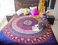 Divik Crafts Bedsheet Mandala Cotton Single Bedsheet/Tapestry for Wall Hanging Decoration Without Pillow Cover
