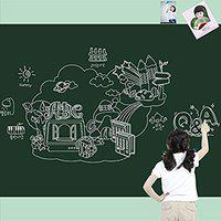 Golden Cart Beautiful Walls STICKER ERASABLE, SELF-ADHESIVE , WATERPROOF, REMOVABLE, PVC VINYL Green Board for Teaching, Kids with MULTICOLOUR CHALKS ( 100 X 60cm)