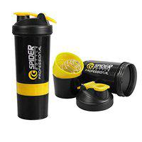KETSAAL Spider Protein Shaker Bottle 500ml with 2 Storage Extra Compartments for Gym (Yellow)