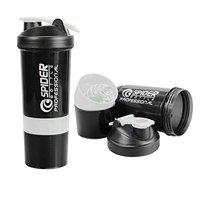 KETSAAL Spider Protein Shaker Bottle 500ml with 2 Storage Extra Compartments for Gym (White)
