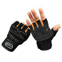 JoyFit Weight Lifting Gloves with 12 Wrist Wrap Support (Orange, Black) (Small)