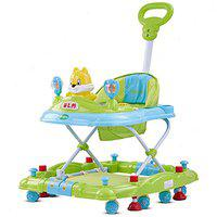 Baybee Looey Baby Walker Cum Rocker - Round Kids Walker for Babies Cycle with Music & Light Rattles and Toys Ultra Soft Seat, Push Bar Activity Walker for Kid and Wheel 6 Months to 2 Years-Green