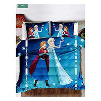 Keyline Glace Cotton Queen Size Cindrella Cartoon Design Double BedSheet for Girls Room with Matching 2 Pillow Covers Attractive Color & Design