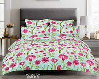 Nistaksh Designs Serenity Cotton 200 TC Double Bedsheet with Two Pillow Covers (Light Blue, Floral Print)