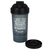 VELLORA 2 in 1 Shaker Sipper Bottle with Detachable Storage Container (Bpa Free, Non-Toxic Made, Leak Proof) Shaker Bottle/Protein Shaker/Sipper Bottle (Black)