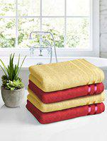 Story@Home450GSMUltraSoft, SuperAbsorbent,AntibacterialTreatment,Bath Towel,70 cms X 140 cms(Yellow and Red )-Packof4