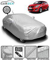 Carzex Silver Waterproof Car Body Cover with Mirror & Antenna Pockets for Maruti Swift 2012-2017 (Heat Resistant, Full Bottom Elastic, Triple Stitched)