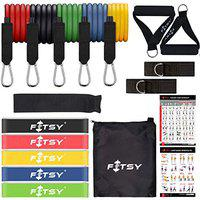 FITSY 18PCS Resistance Bands Set for Exercise, 5 Stackable Exercise Toning Tube for Workout with 2 Handles, 5 Resistance Loop Bands, 1 Carry Bag, 2 Ankle Straps, 1 Door Anchor & 2 Workout Charts