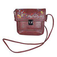NFI GIRLS SLING BAG WITH EMBROIDERY (RED) (Red)