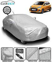 Carzex Silver Waterproof Car Body Cover with Mirror & Antenna Pockets for Hyundai Grand i10 (Heat Resistant, Full Bottom Elastic, Triple Stitched)