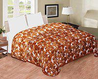 Spangle Printed Floral Self Warm Soft Luxurious 480 TC Micro Fibre Double Bed Blanket (Golden)