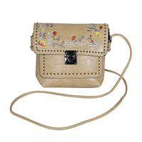 NFI Girl's PU Sling Bag with Embroidery (Beige)