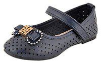 Yellow Bee Girls Mary Jane Flats with Bow Applique, Navy, 11.5C, 5-5.5 Years