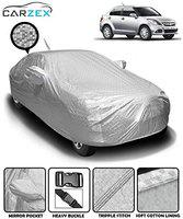 Carzex Silver Waterproof Car Body Cover with Mirror & Antenna Pockets for Maruti Suzuki Dzire 2012-2016 (Heat Resistant, Full Bottom Elastic, Triple Stitched)