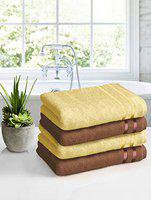 Story@Home450GSMUltraSoft, SuperAbsorbent,AntibacterialTreatment,Bath Towel,70 cms X 140 cms(Yellow and Brown )-Packof4