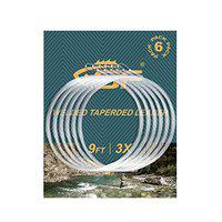 SF Welded Tapered Leader Fly Fishing with Loop Nylon 9ft Fishing Leader (5X 6 Pack)