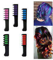 Majik Temporary Crayons Hair Color Dye Chalk Comb Non Toxic Hair Coloring Tool For Kids And Adults (Set Of 6, Multicolored)
