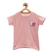 Tales & Stories Baby Boys Printed Round Neck Peach T-Shirt