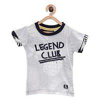 Tales & Stories Baby Boys Grey Printed Round Neck T-Shirt