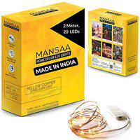 MANSAA Battery Operated String Lights with Coin Cell Battery for Decoration, 1 Yellow Light, 2 MTR 20 LED's, Coin Cell Operated, 1 Pack