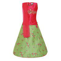 Aarika Girl's Silk Lehenga Choli & Dupatta Set (Rani_10-11 Years)