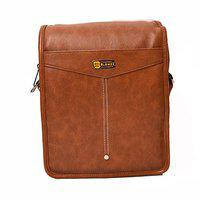 Blowzy Bags Artificial Leather Travel Sling Bag with Multiple Pockets and Padded Section for Tablet (Tan)