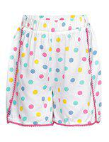 Oxolloxo Short For Girls Casual Printed Viscose(White, Pack of 1)