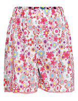 Oxolloxo Short For Girls Casual Floral Print Polyester(White, Pack of 1)