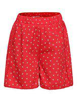 Oxolloxo Short For Girls Casual Printed Polyester(Red, Pack of 1)