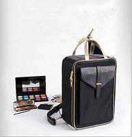House of Quirk Cosmetic Organizer Beauty Artist Storage Brush Box with Shoulder Strap - Black