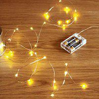 MIRADH 10 Feet 30 Led 2 Mode Fairy Lights Battery Operated Waterproof Copper Wire Twinkle String Lights for Bedroom -Warm White (2 Mode- Steady on & Flash)