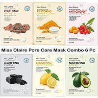Miss Claire Nature Essence Pore Care Ready to Use Instant Facial Face Mask Daily Beauty Booster Made For Men & Women - Set of 6