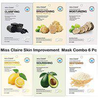 Miss Claire Nature Essence Skin Improvement Ready to Use Instant Facial Face Mask Daily Beauty Booster Made For Men & Women - Set of 6