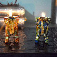 DreamKraft Paper Mache Elephant Tealight/candle Holder, Pack of 2