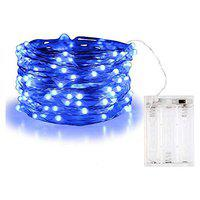 MIRADH 10 Feet 30 Led 2 Mode Fairy Lights Battery Operated Waterproof Copper Wire Twinkle String Lights for Bedroom -Blue (2 Mode- Steady on & Flash)