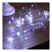MIRADH 10 Feet 30 Led 2 Mode Fairy Lights Battery Operated Waterproof Copper Wire Twinkle String Lights for Bedroom -Cool White (2 Mode- Steady on & Flash)
