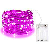 MIRADH 10 Feet 30 Led Fairy 2 Mode Lights Battery Operated Waterproof Copper Wire Twinkle String Lights for Bedroom -Pink (2 Mode- Steady on & Flash)
