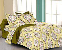 RADANYA 100% Cotton Printed Bedsheet with Pillow Covers for Double Bed,Green