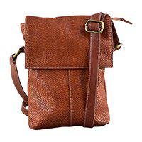 THE RUNNER Small Size Croc Design Faux Leather Office Sling Bag for Men (Beige)