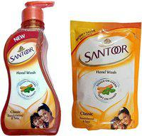 Santoor Classic Sandalwood and Tulsi Soft On 2 Hand Wash POUCH (215 + 180) Pump Dispenser(2 x 197.5 ml