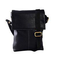 THE RUNNER Small Size Croc Design Faux Leather Office Sling Bag for Men (Black)