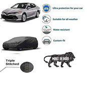 Varshine CAR Cover for Camry Model || Export Quality Fabric || Water Resistant and UV Protection || Triple Stitched || Front and Back Elastic || Dark Grey Color || with Carry Bag || Model V6