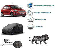 VARSHINE CAR Cover for Figo Model || Export Quality Fabric || Water Resistant and UV Protection || Triple Stitched || Front and Back Elastic || Dark Grey Color || with Carry Bag || Model V3XL
