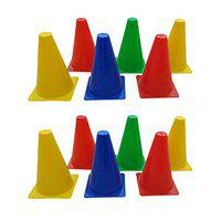 Foricx 12 Pcs Marker Cones 6 INCH for Soccer Cricket Track and Field Sports,Elementary Marker Cones,Training Space Marker Equipment,Agility Training Cone,Cones for Sports,Football Cones,Cones & Marker