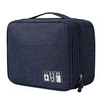 FORKLS Waterproof Portable Electronics & Gadget Accessory Travel Storage Organizer Carry Bag with 3 Removable Dividers for Men & Women(Navy Blue) (Navy Blue)