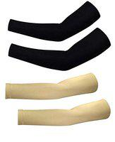 Prime Fingerless Uv Protection Arm Sleeves, Arm Sleeves For Sun Protection Use For Men And Women, Arm Sleeves Combo Set Of 2 Pair, 4 Pcs, Black And Skin Color, Pack Of 1